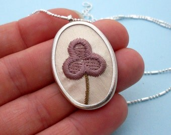 Hand Embroidered Flower Necklace - Silver, Purple, Embroidery Necklace, Embroidered Necklace