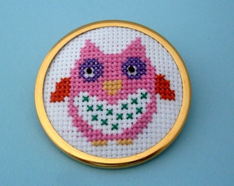 Embroidered Owl Pin - Gold, Pink, Purple