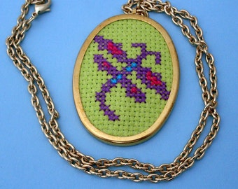 Dragonfly Embroidered Necklace - Gold, Green, Purple, Dragonfly Necklace, Dragon Fly Necklace