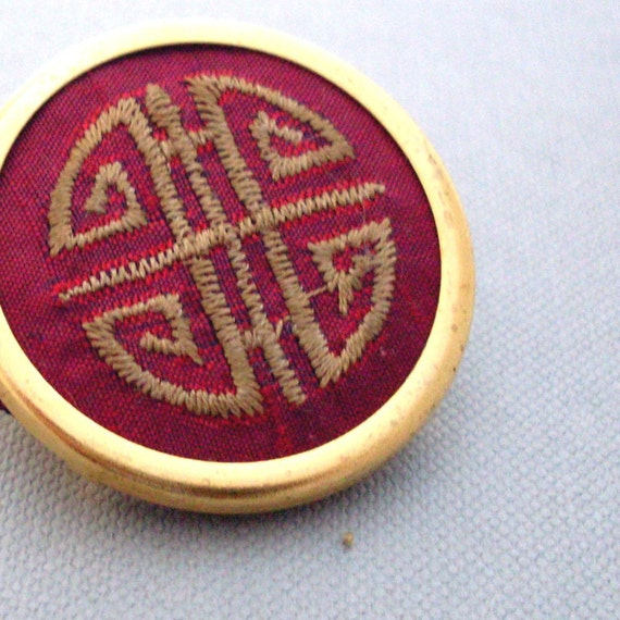 Embroidered Chinese Silk Pin --- Red, Gold,Yellow