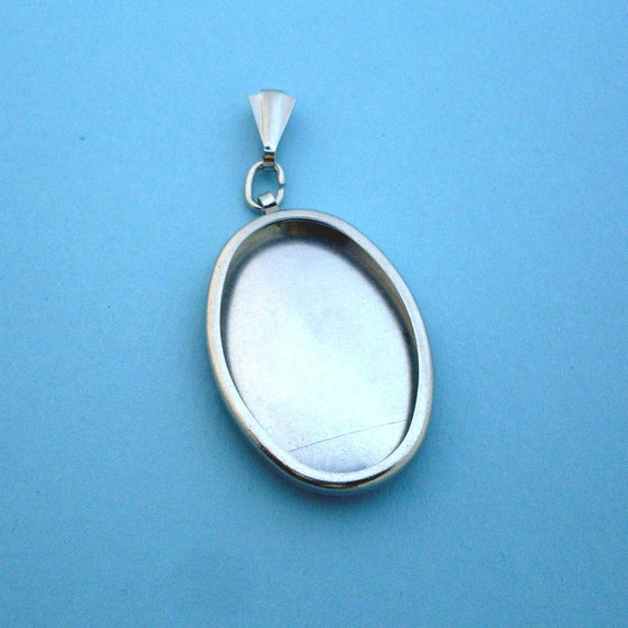 Silver Oval Pendant Setting Frame Mounting Embroidery Pendant