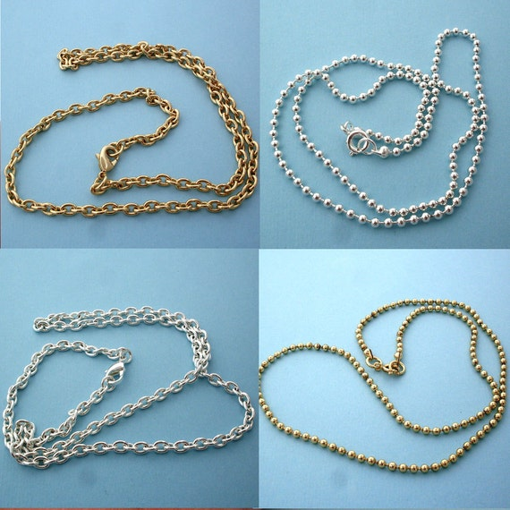 Any 10 Gold or Silver Ball or Cable Chain Necklace Special