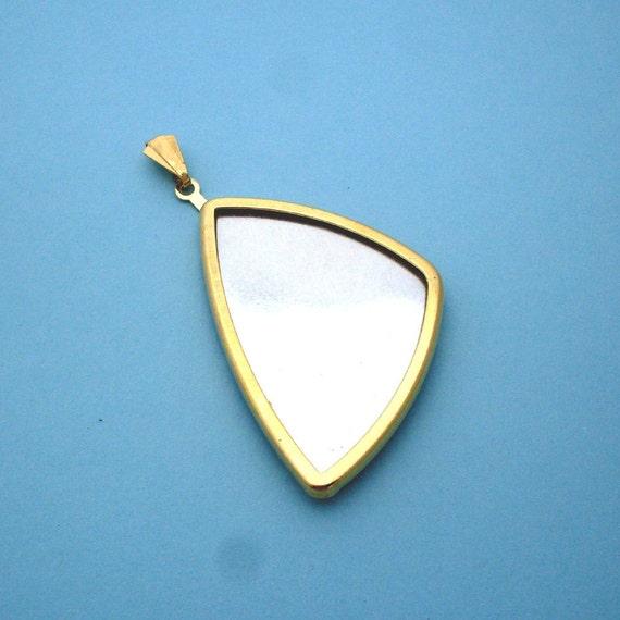 Gold Long Triangular Pendant Setting Frame Mounting 135GT