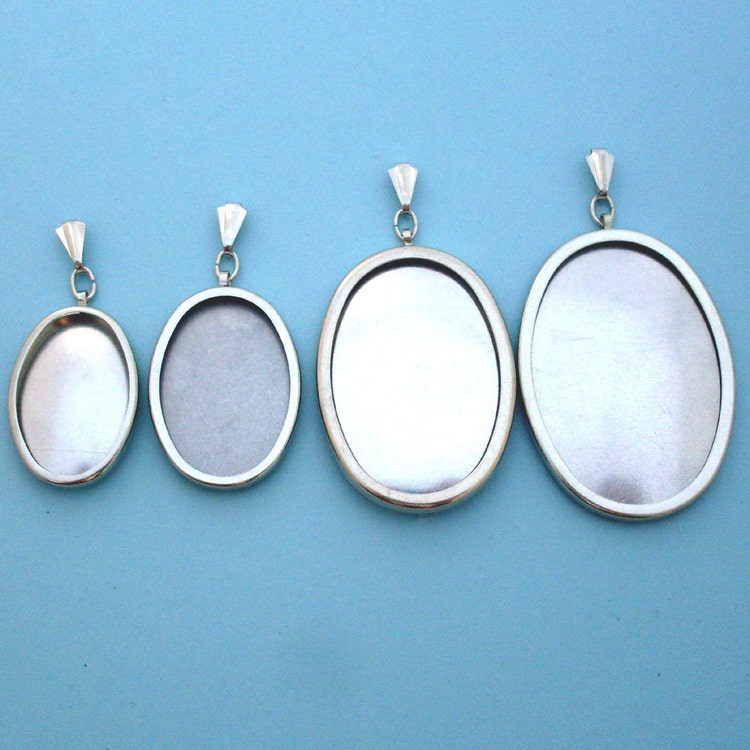 Silver Tone Oval Pendant Setting Frame Mounting 112st By