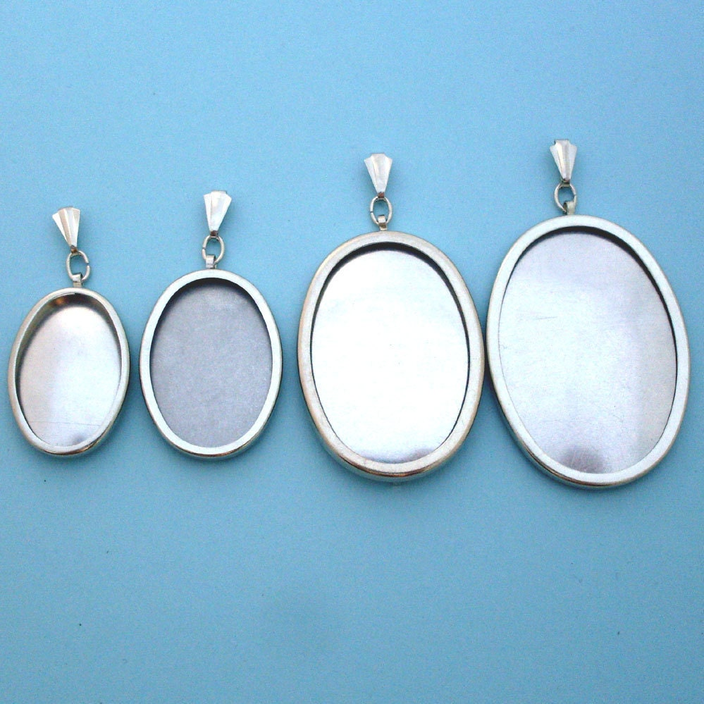 Silver Tone Oval Pendant Setting Frame Mounting 112st Hoop