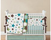 2 pc Custom Crib Set - Baby Blanket with piping and Crib Fitted sheet - Design your own