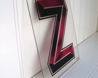 Old Plastic Red Letter Z ... free US shipping