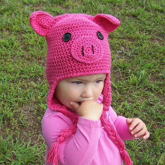 Crochet Pig Hat Pattern Oink Adorable Earflap Hat available in 5 sizes, baby to adult INSTANT pdf DOWNLOAD BONUS Frog Hat Pattern
