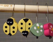 Hand made stitch markers, Lady Bugs and hearts, set of four