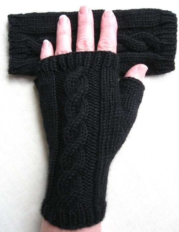 Black Fingerless Gloves for Women