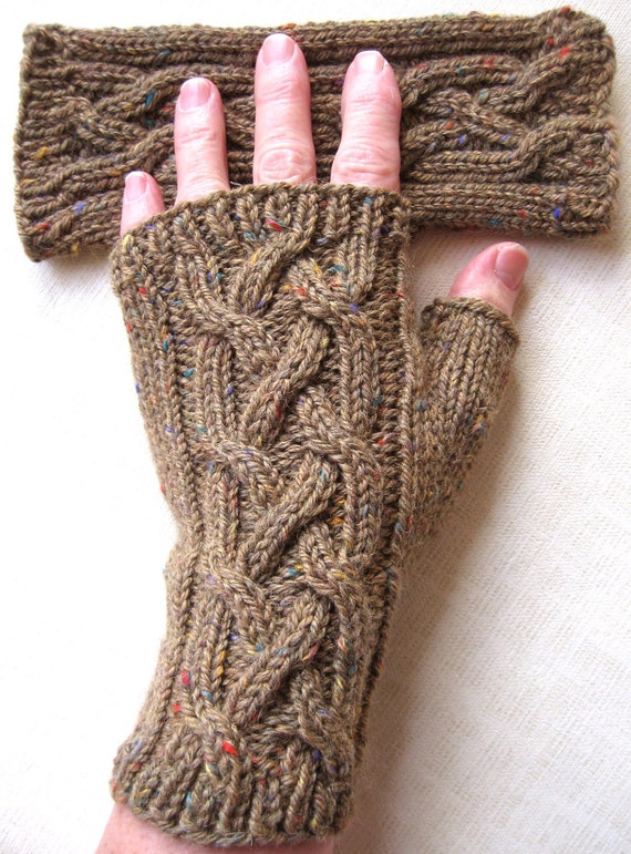 Tan Fingerless Gloves for Women