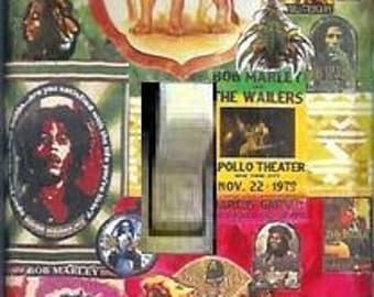Original BOB MARLEY Collage Light Switch Plate switchplate switch plate also avail- jimi hendrix the beatles... possibilities are endless...