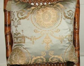 "NEW Let Them Eat Cake Decorative Pillow French Provincial Bullion Versaille Luxurious Spa Blue Metallic Taupe Gold Tassel 18"" Throw Cushion"