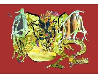 Dragon Fantasy Art Print with Red Background 13 x 19, 11 x 14, 8.5 x 11, 8 x 10, 5 x 7