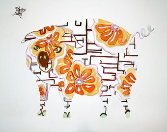 Pig Limited Edition Fine Art Farm Animal Print // Barnyard Rural Rustic Wall Art Farmhouse //13 x1 9, 11 x 14, 8 x 10, 5x 7