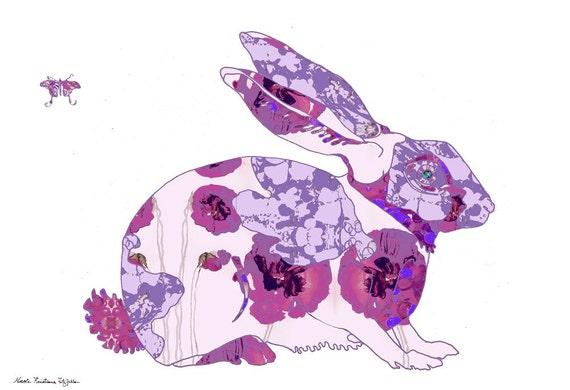 PURPLE Rabbit Year of the Rabbit Decorative Art Print  13x19 or 8.5x11