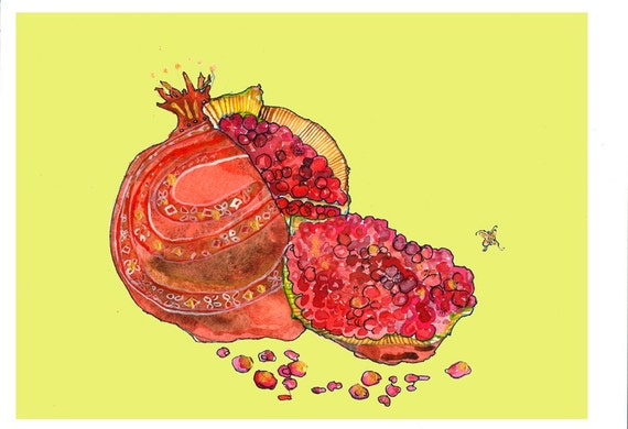 Matted Pomegranate With Lime Background Limited Edition Print