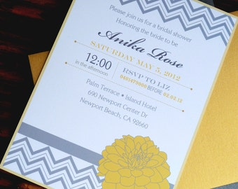 Printable Chevron Yellow and Grey Bridal Shower Invitation