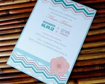 Red and Blue Chevron Bridal Shower Invitation Set