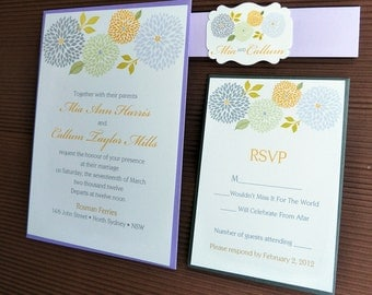 Shabby Chic Grey and Violet Dahlias Wedding Invitation set with Belly Band