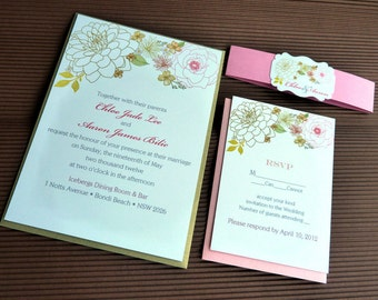 Shabby Chic Peonies Bridal Invitation Set with Belly band