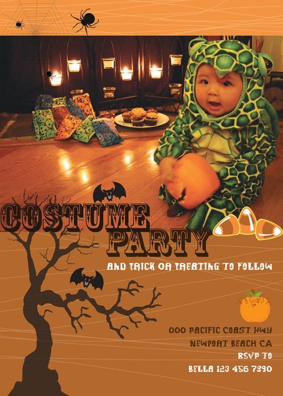 Halloween Printable Candy Corns Bat Jack O'Lantern Costume Party Invitation