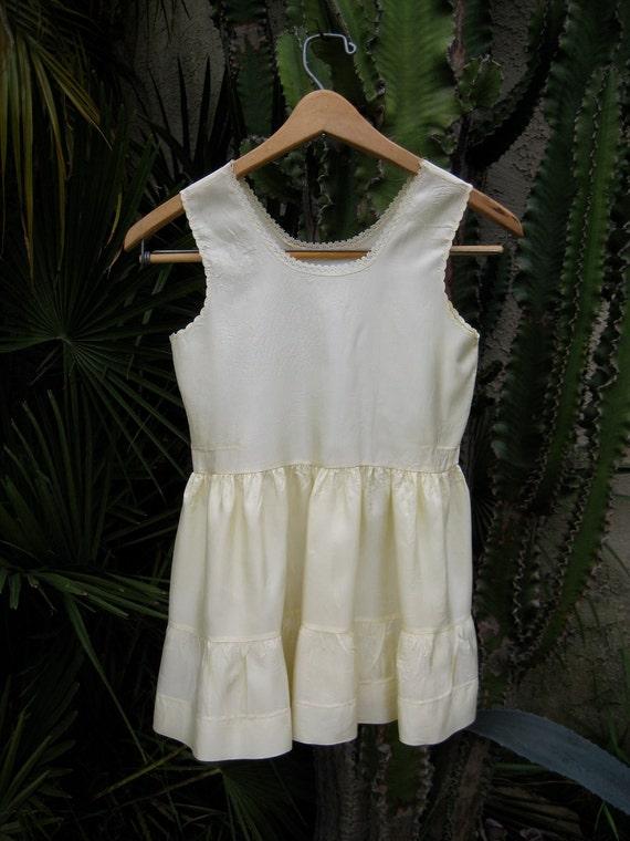 Vintage child's petticoat slip nylon acetate tiered ruffled scalloped lace trim ivory bone