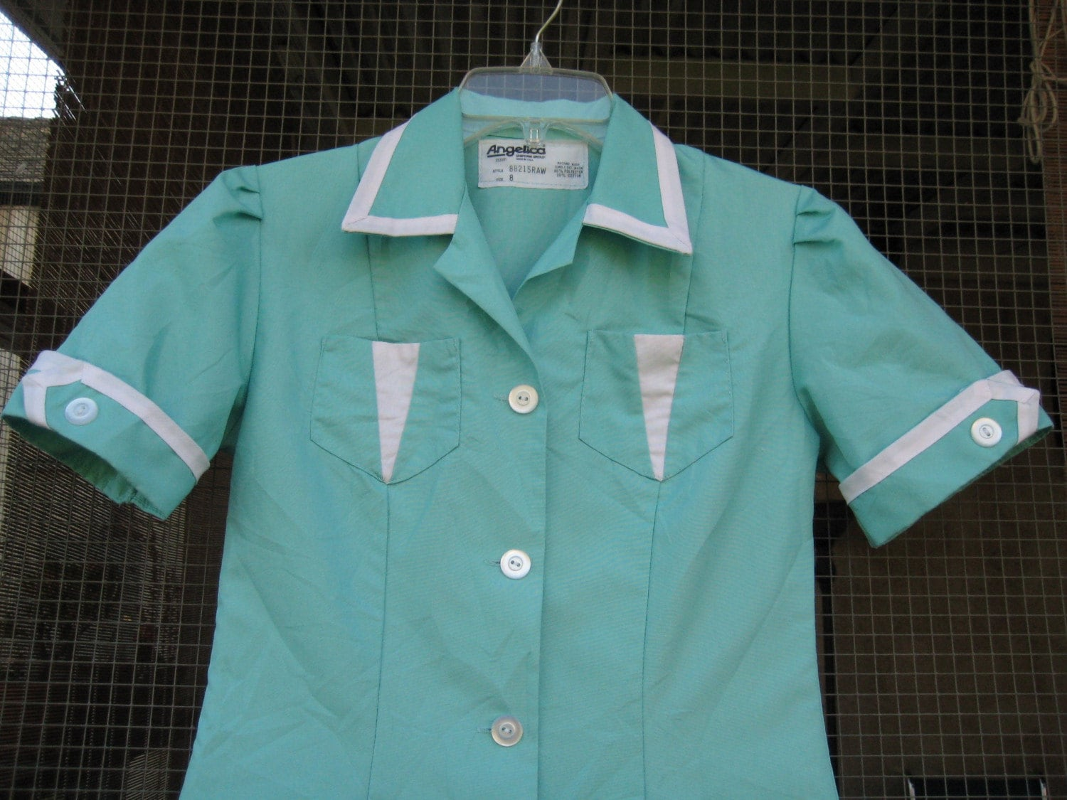 Vintage TURQUOISE WAITRESS UNIFORM dress S/M