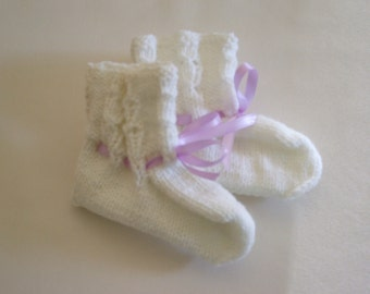 Hand Knitted - White Layette Booties with Purple Ribbon