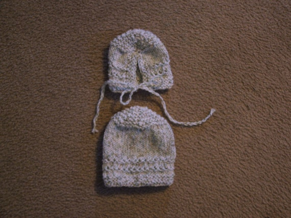 Hand Knitted - Tweed Color Knitted Baby Cap or Bonnett with Strings.