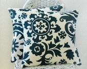 TWO Suzani Print in Blue and Natural 16x16 Pillow Covers