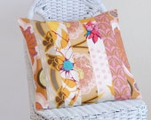 Patchwork Pillow Cover Peach Pink Gold Rose 16x16 inches