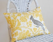 Yellow White and Taupe 12x16 Pillow Cover