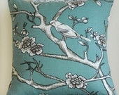 Vintage Blossoms in Jade/Teal 18x18 Pillow Cover