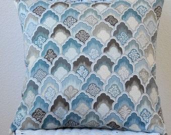 Blue Tan Ivory Paul Kaufmann Print 20x20 Pillow Cover Decorative Pillow Cushion Cover fan feather print