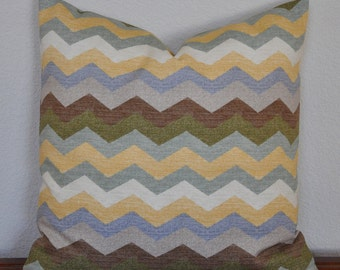 Decorative Pillow Cover 20x20 inches Waverly ZigZag Chevron Print in Earth Tones