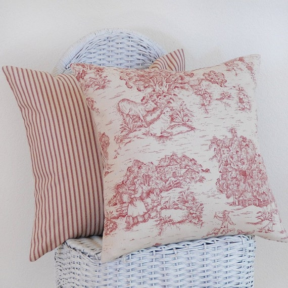 Pastoral Toile Cranberry Red Cream Cranberry Red By Pillowmio