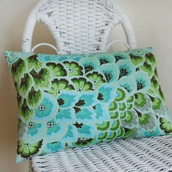 Aqua Blue Green 12x18 Pillow Cover in Amy Butler's Soul Blossoms Peacock Feathers