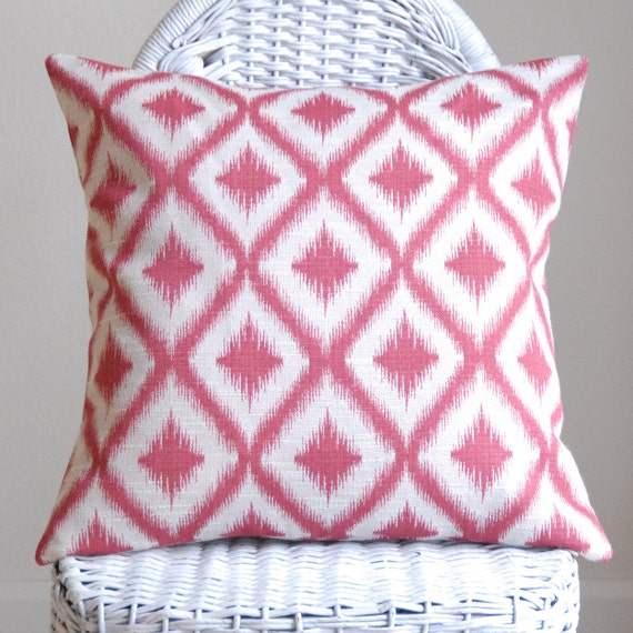 Decorative Pillow Ikat Fretwork in Rasberry Red Geometric Design 18x18 Pillow Cover Accent Pillow Cushion Cover