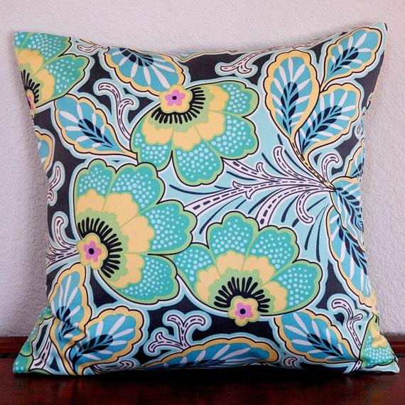 Amy Butler Home Décor Lark Floral Couture Charcoal Aqua Citrine Gray 18x18 cushion cover