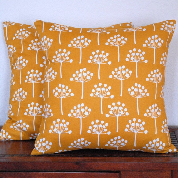Lotta Jansdotter Spring Buds in Deep Yellow Decorative Pillow Cover TWO 18x18 inch Cushion covers