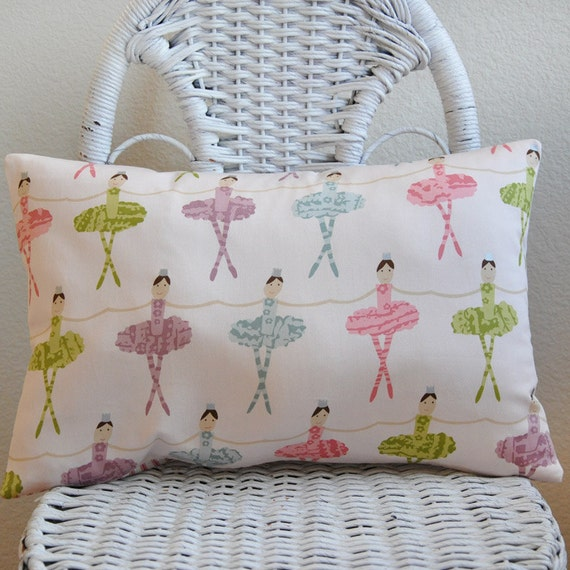 Decorative Pillow Cover Ballet Dancers in Pink Blue Purple and Green on Pale Pink Background 12x16 inches Cushion Cover