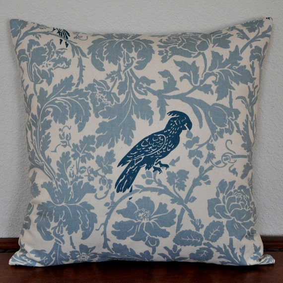 Decorative Pillow Cover Blue Bird on Blue and Natural Floral Background 20x20 Decor Fabric Invisible Zipper