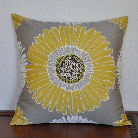Decorative Pillow Cover Duralee 20x20 Pillow Cover in Yellow White on Gray Cushion Cover