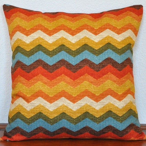 One Decorative Pillow Cover 20x20 inches  Waverly Panama Wave in Orange Aqua Green Yellow Invisible Zipper