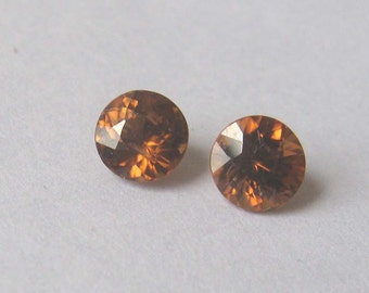 Matched Pair Honey Zircon Natural Gemstones, 5.7mm round brilliant cut, 2.37 carats total, make a pair of earrings with these