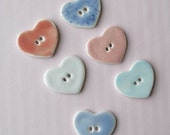 Reserved for Maria.  Handmade Porcelain Buttons.  Medium Pastel Hearts