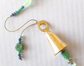 Beaded Garden Chime: Windchime with  Mint Green, Aqua & Cornflower Blue Glass Beads.  Brass Bell