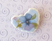 Reserved for Rachelle:  Porcelain Heart Brooch.  Lavender Viola Blossom.  Shabby Chic.  Brooch Bouquet or Bridesmaids' Gifts