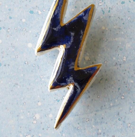 Porcelain Lightning Bolt Brooch.  Blue on Blue with 22K Gold Decoration